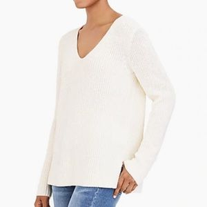 J crew ivory rubbed vneck pullover sweater